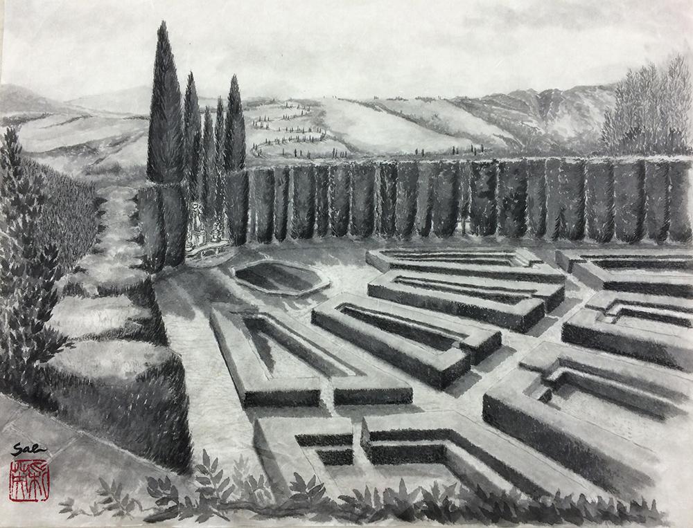 Toscana giardino トスカーナ庭園(第16回国際墨画会展 奨励賞)